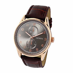 Geneva Mens Brown Strap Watch-Jry1794rgbngy