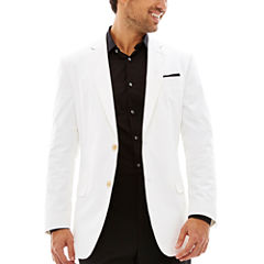 JF J. Ferrar Cotton White Sport Coat-Slim Fit