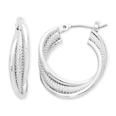Liz Claiborne® Silver-Tone, Twisted Hoop Earrings