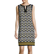 London Style Collection Sleeveless Geo Print Bar-Neck Shift Dress