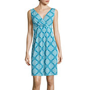 St. John's Bay® Sleeveless Medallion-Print Surplice Pleat Dress