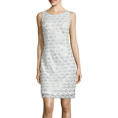 Studio 1® Sleeveless Sequin-Pattern Sheath Dress
