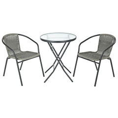 3-pc Outdoor Folding Table and Rattan Chair Set
