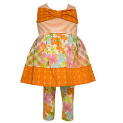 Bonnie Jean sleeveless mixed print top to floral legging  - Baby Girls