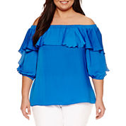 Bisou Bisou 3/4 Sleeve Off The Shoulder Woven Blouse-Plus