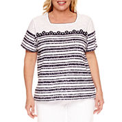 Alfred Dunner Seas The Day Short Sleeve Square Neck T-Shirt-Plus