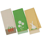 Design Imports Spring Garden Embellished Set of 3 Kitchen Towels