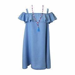 Lilt Sleeveless Cold Shoulder Sleeve Shift Dress - Big Kid Girls