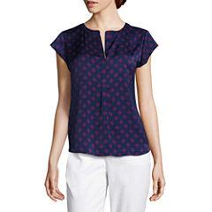 Liz Claiborne® Cap-Sleeve Popover Shirt