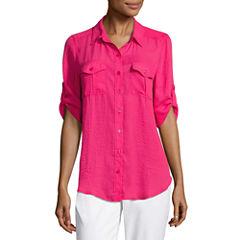 Liz Claiborne 3/4 Sleeve Roll Tab Sleeve Camp Shirt