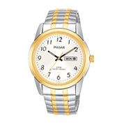 Pulsar® Mens Two-Tone Stainless Steel Expansion Bracelet Watch PJ6052