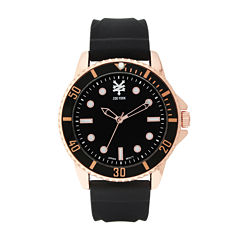 Zoo York® Mens Rose-Gold Tone Black Rubber Strap Watch