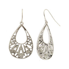 Decree® Silver-Tone Filigree Teardop Earrings