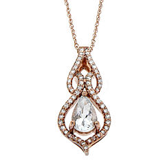 8X5 aquamarine pear shape center with 1/5 CT.T.W Diamond 10K Rose Gold Pendant Necklace
