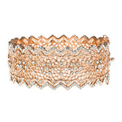 Jardin Rose-Tone Pointed Edge Floral Hinge Bangle Cuffed Bracelet