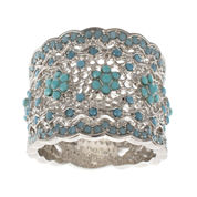 Jardin Blue Crystal Silver-Tone Wide Floral Filigree Pave Ring