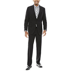 Claiborne Stretch Black Grid Suit-Classic Fit