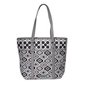 Waverly Black White Ikat Quilted Large Tote Bag