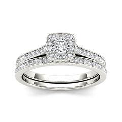 1/2 CT. T.W. Diamond 10K White Gold Halo Bridal Ring Set