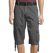 Plugg® Defender Relaxed-Fit Lightweight Belted Twill Messenger Cargo Shorts