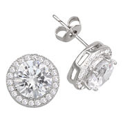 Sparkle Allure™ Pure Silver-Plated Round Cubic Zirconia Earrings