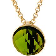 ATHRA Green Stone Half Dome Pendant Necklace