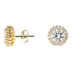 CZ by Kenneth Jay Lane Gold-Tone Cluster Stud Earrings