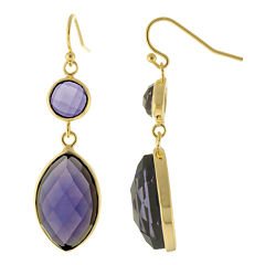 ATHRA Purple Stone Marquise Double-Drop Earrings