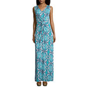 St. John's Bay Sleeveless Twist Front Maxi Dress-Petites