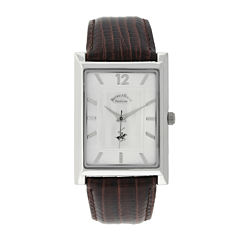 Beverly Hills Polo Club Mens Silver Dial Brown Leather Strap Watch