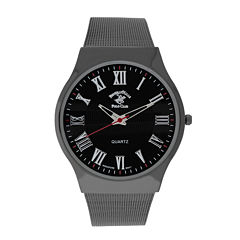 Beverly Hills Polo Club Mens Gunmetal Mesh Strap Watches