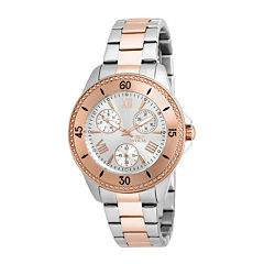 Invicta® Angel Womens 18K Rose Gold Ion Plated & Silver Stainless Steel Bracelet Watch