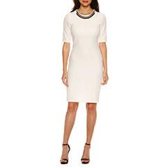 Bisou Bisou Elbow Sleeve Textured Sheath Dress