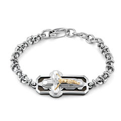 Mens 9 Inch Diamond Accent White Diamond Accent Stainless Steel Chain Bracelet