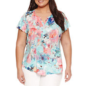Liz Claiborne Short Sleeve Split Crew Neck T-Shirt-Plus
