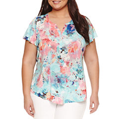 Liz Claiborne Short Sleeve Split Crew Neck T-Shirt-Plus