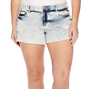 Arizona Raw Hem Denim Shorts - Juniors Plus