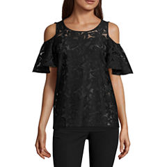 Worthington Short Sleeve Cold Shoulder Lace Top