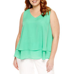 Liz Claiborne Sleeveless V Neck Woven Blouse-Plus