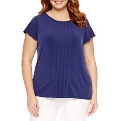 Liz Claiborne Short Sleeve Crew Neck Knit Blouse-Plus