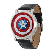 Marvel® Vintage Captain America Mens Black Leather Strap Watch