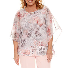 Alfred Dunner Short Sleeve Crew Neck Woven Blouse-Plus