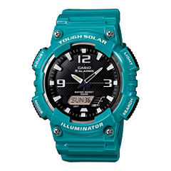 Casio® Mens Black Dial Teal Resin Strap Solar Sport Watch AQ-S810WC-3A