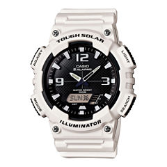 Casio® Mens Black Dial White Resin Strap Solar Sport Watch AQ-S810WC-7A