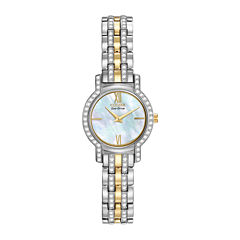 Citizen® Eco-Drive® Womens Crystal-Accent Two-Tone Stainless Steel Watch EX1244-51D