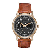 Citizen® Eco-Drive® Mens Gold-Tone Black Dial Strap Watch  AO9003-08E