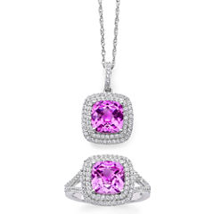 Lab-Created Pink & White Sapphire Double Halo Ring & Pendant Necklace Boxed Set