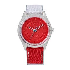 Q&Q SmileSolar White/Red Sport Strap Watch