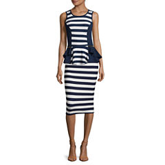 By & By Sleeveless Stripe-to-solid Peplum Top or Slim-Fit Pencil Skirt