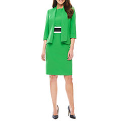 Black Label by Evan-Picone 3/4 Sleeve Open Front Jacket or Sleeveless Colorblock Sheath